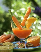 Multi-vitamin juice with carrots, oranges and passion fruit