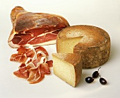 Still life with ham and pecorino