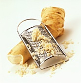 Horseradish root with grater