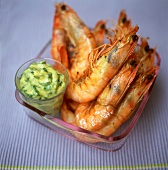 Grilled jumbo prawns with cucumber relish