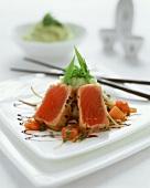 Tuna on wasabi mashed potato