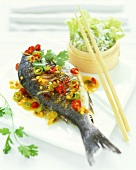 Fried sea bream with rice and Chinese cabbage