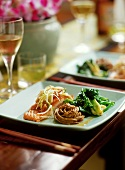 Salmon with soba noodles and Asian vegetables