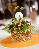 Salmon tartare with lettuce and boiled egg