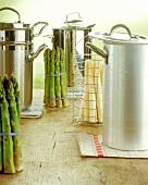 Asparagus spears and asparagus pans