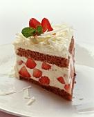 A piece of strawberry tiramisu cake