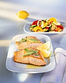 Fried salmon fillets with herb butter