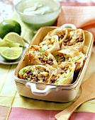 Mince and vegetable wraps