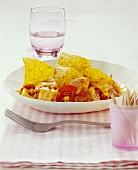 Chicken & vegetable bake with cheese & tortilla chips (nachos)