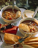 Beef and bean stew, 60's style decorations