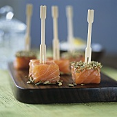 Salmon snacks with aromatic spices