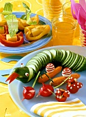Cucumber snake, vegetable animals, pepper boats