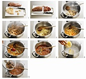 Entenragout (z.B. für Pappardelle all' anitra) zubereiten