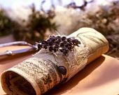 Napkin with lavender decoration