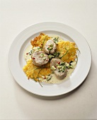 Pork medallions in cream sauce with rosti