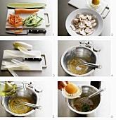 Preparing insalata mista (mixed salad)