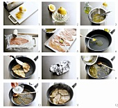 Preparing scaloppine al limone (veal escalope with lemon)