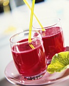 Two glasses of beetroot juice