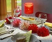 Laid table with dahlias