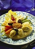 Mixed vegetables with crab, pork medallions & dumplings