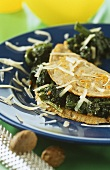 Buckwheat cheese pancakes with spinach