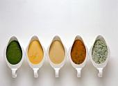 Sauces: herb, tomato, mascarpone, saffron and sorrel