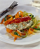 Chicken breast with herb & soft cheese stuffing, vegetables