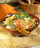 Salad with tender wheat, vegetables and crab tails