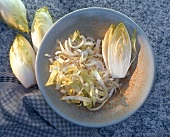 Chicory, one half and one cut open on a plate