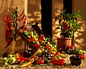 Still life with different types of peppers