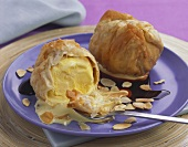 Scoops of vanilla ice cream in filo pastry