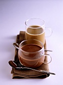 Hot chili chocolate and egg-nog style coffee drink