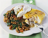 Haddock fillet with poached egg and lentils & spinach