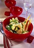 Brussels sprout & vegetable ragout with quark dumplings & herbs