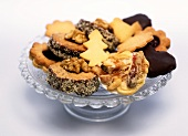 Assorted Christmas biscuits on glass plate