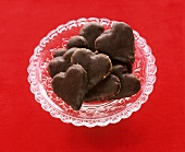 Heart-shaped chocolate almond biscuits