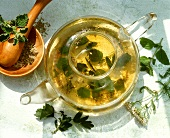 Herb tea infusing in a glass pot