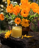 Marigold ointment and a bunch of marigolds