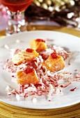 Radish salad with salmon fillet and caviare