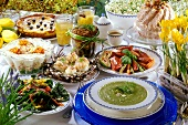 Easter buffet with sweet and savoury dishes