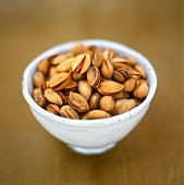 Roasted, salted pistachios in a bowl