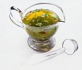 Herb vinaigrette in glass sauce-boar