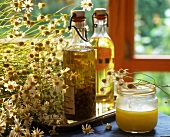 Camomile flowers, medicinal camomile flower oil and honey