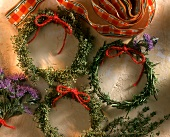 Various home-made herb wreaths