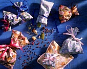 Various scented bags with contents