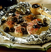 Red mullet with olives baked in aluminium foil