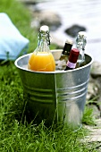 Drinks for a garden party or picnic in ice bucket
