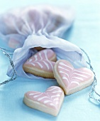 Decorated sweet pastry hearts