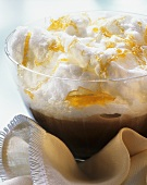 Chocolate pudding with meringue cloud and caramel