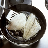 Frying plaice fillets in butter